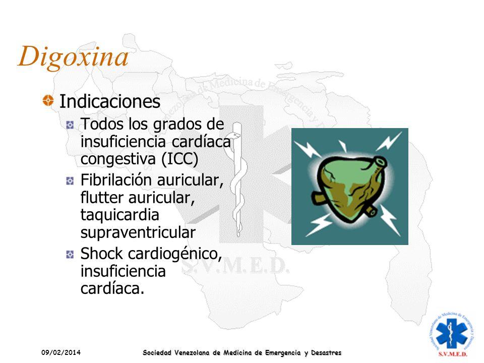 09/02/2014 Sociedad Venezolana de Medicina de Emergencia y Desastres Digoxina Indicaciones Todos los grados de insuficiencia cardíaca congestiva (ICC)