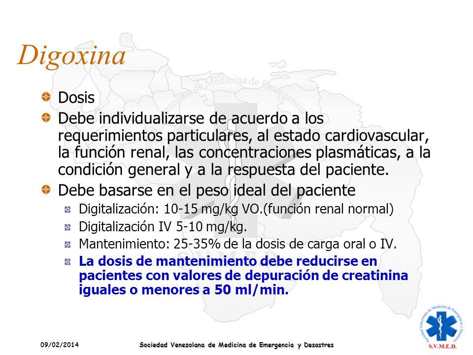 09/02/2014 Sociedad Venezolana de Medicina de Emergencia y Desastres Digoxina Dosis Debe individualizarse de acuerdo a los requerimientos particulares