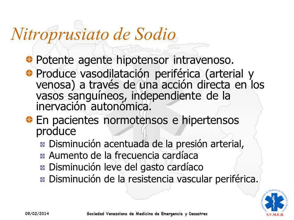 09/02/2014 Sociedad Venezolana de Medicina de Emergencia y Desastres Nitroprusiato de Sodio Potente agente hipotensor intravenoso. Produce vasodilatac