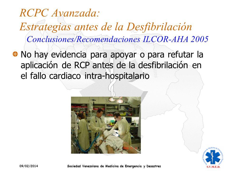 09/02/2014 Sociedad Venezolana de Medicina de Emergencia y Desastres RCPC Avanzada: Estrategias antes de la Desfibrilación No hay evidencia para apoya