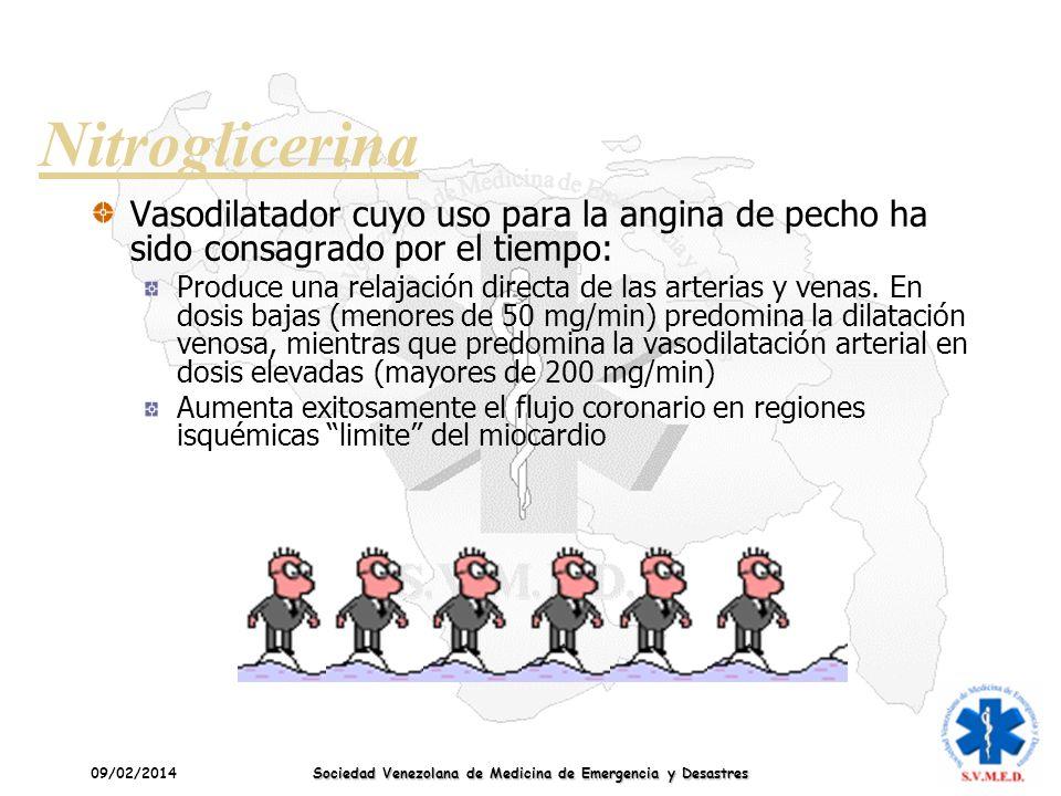 09/02/2014 Sociedad Venezolana de Medicina de Emergencia y Desastres Nitroglicerina Vasodilatador cuyo uso para la angina de pecho ha sido consagrado