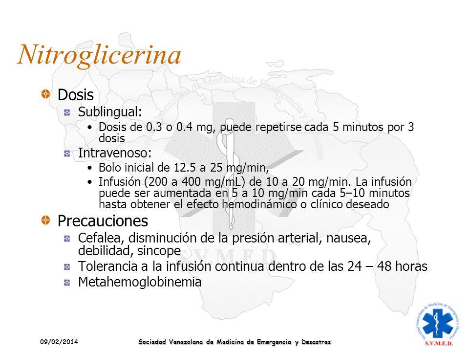 09/02/2014 Sociedad Venezolana de Medicina de Emergencia y Desastres Nitroglicerina Dosis Sublingual: Dosis de 0.3 o 0.4 mg, puede repetirse cada 5 mi
