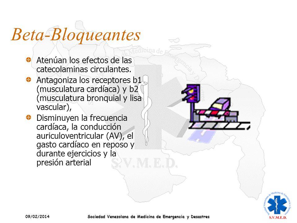 09/02/2014 Sociedad Venezolana de Medicina de Emergencia y Desastres Beta-Bloqueantes Atenúan los efectos de las catecolaminas circulantes. Antagoniza
