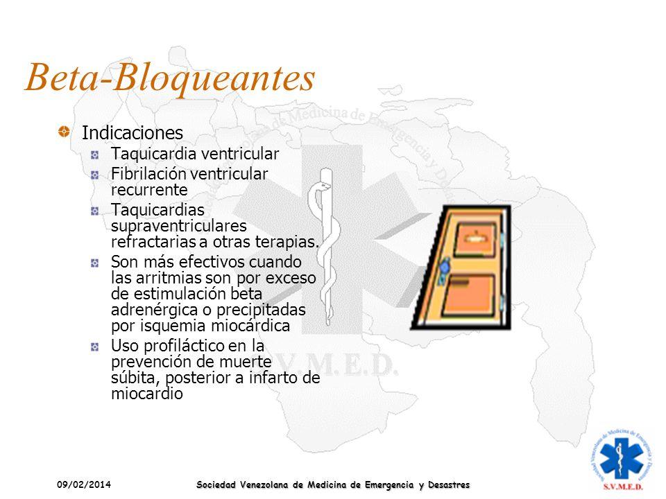 09/02/2014 Sociedad Venezolana de Medicina de Emergencia y Desastres Beta-Bloqueantes Indicaciones Taquicardia ventricular Fibrilación ventricular rec