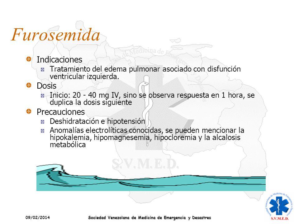 09/02/2014 Sociedad Venezolana de Medicina de Emergencia y Desastres Furosemida Indicaciones Tratamiento del edema pulmonar asociado con disfunción ve