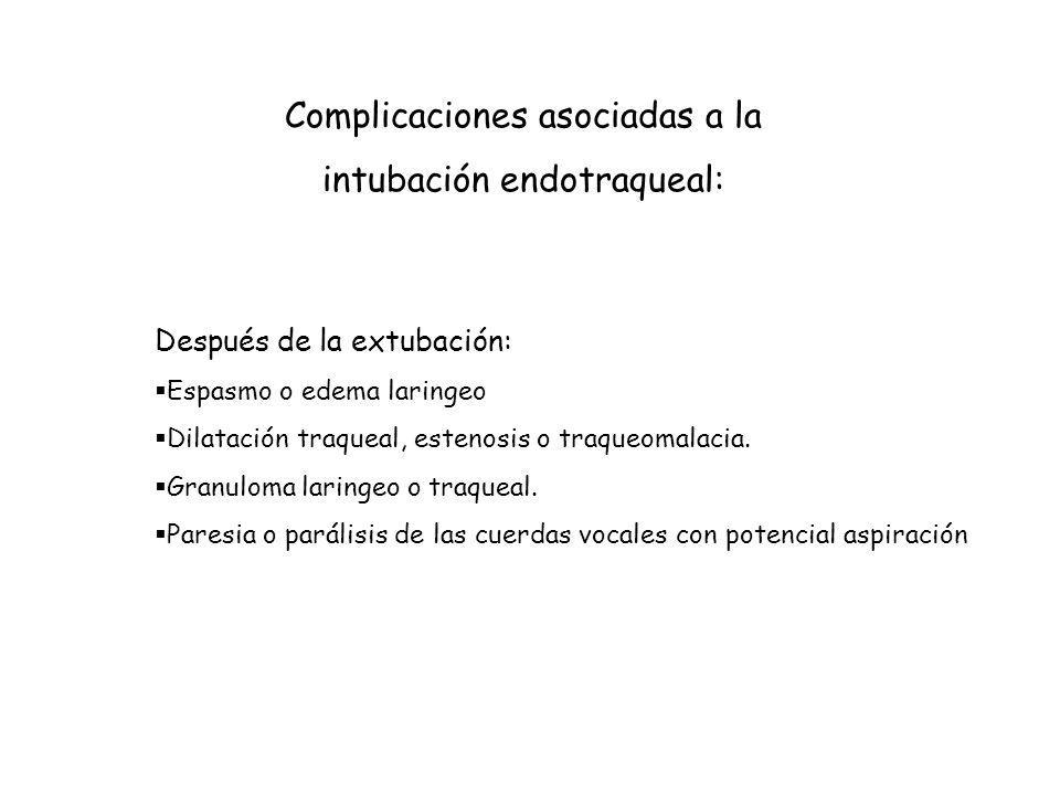 Complicaciones asociadas a la intubación endotraqueal: Después de la extubación: Espasmo o edema laringeo Dilatación traqueal, estenosis o traqueomalacia.
