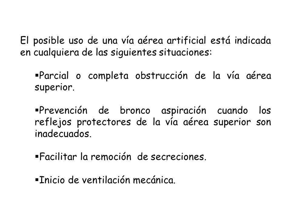 El posible uso de una vía aérea artificial está indicada en cualquiera de las siguientes situaciones: Parcial o completa obstrucción de la vía aérea superior.