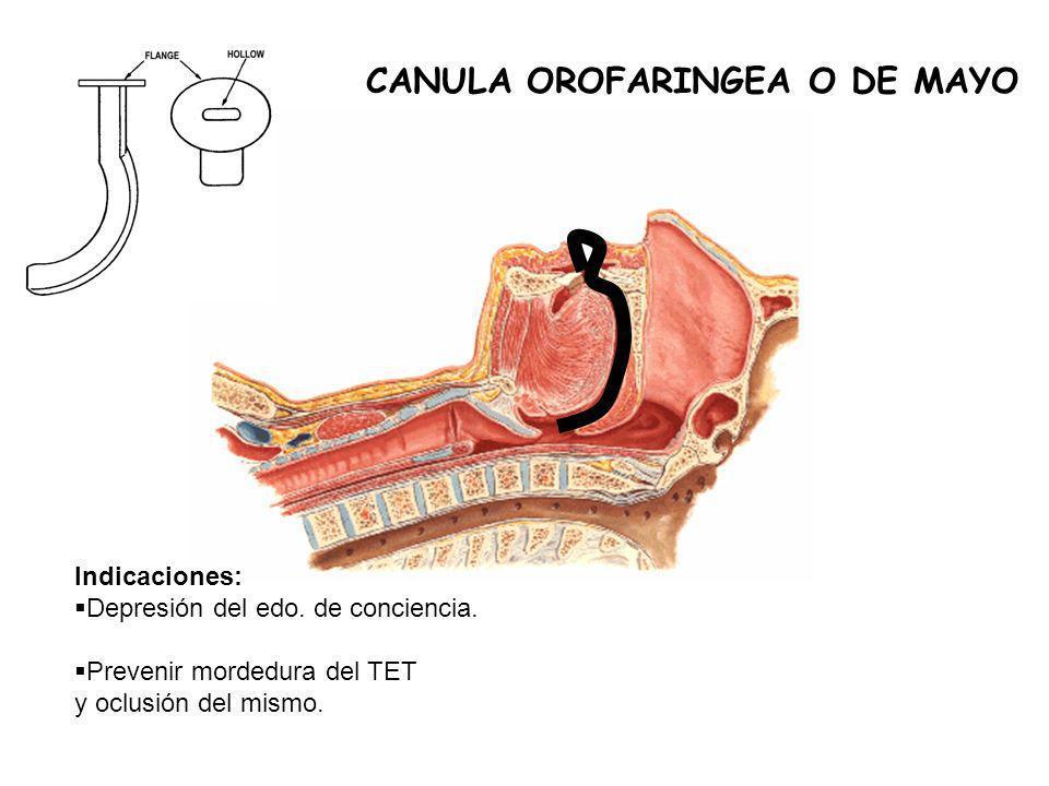 CANULA OROFARINGEA O DE MAYO Indicaciones: Depresión del edo.