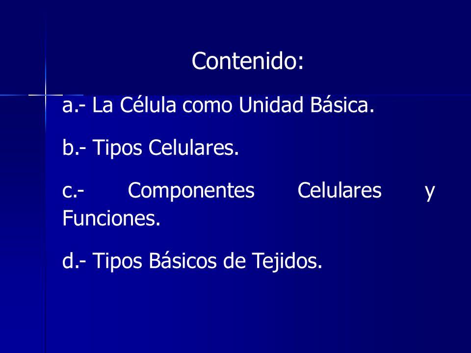Contenido: a.- La Célula como Unidad Básica. b.- Tipos Celulares. c.- Componentes Celulares y Funciones. d.- Tipos Básicos de Tejidos.