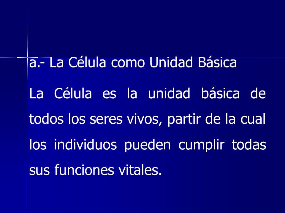 a.- La Célula como Unidad Básica La Célula es la unidad básica de todos los seres vivos, partir de la cual los individuos pueden cumplir todas sus fun