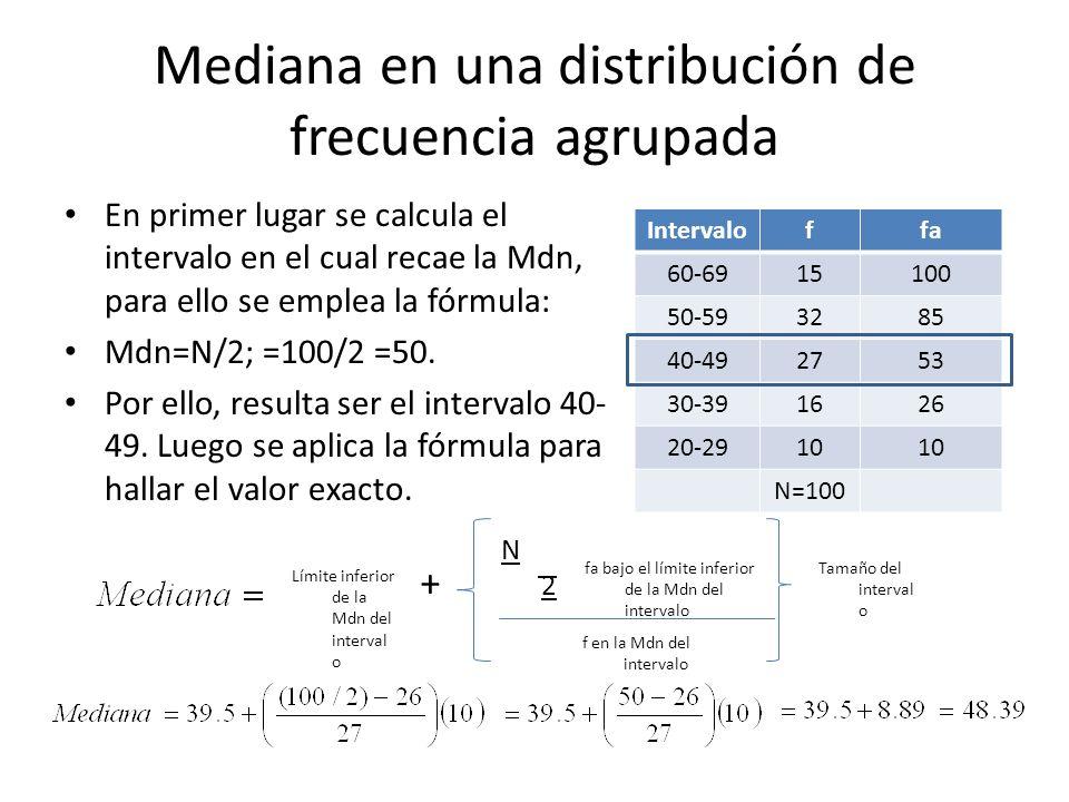 Mediana en una distribución de frecuencia agrupada En primer lugar se calcula el intervalo en el cual recae la Mdn, para ello se emplea la fórmula: Md