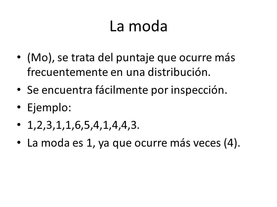 La moda (Mo), se trata del puntaje que ocurre más frecuentemente en una distribución. Se encuentra fácilmente por inspección. Ejemplo: 1,2,3,1,1,6,5,4