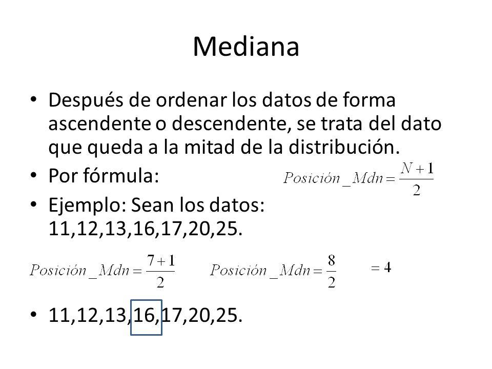 Mediana Después de ordenar los datos de forma ascendente o descendente, se trata del dato que queda a la mitad de la distribución. Por fórmula: Ejempl