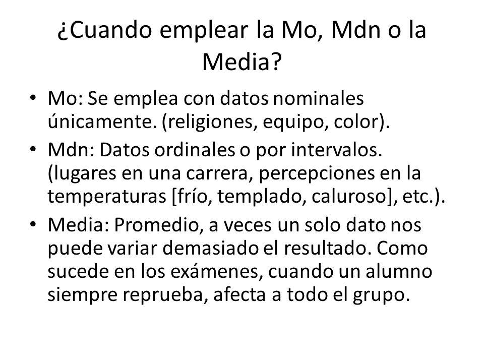 ¿Cuando emplear la Mo, Mdn o la Media? Mo: Se emplea con datos nominales únicamente. (religiones, equipo, color). Mdn: Datos ordinales o por intervalo