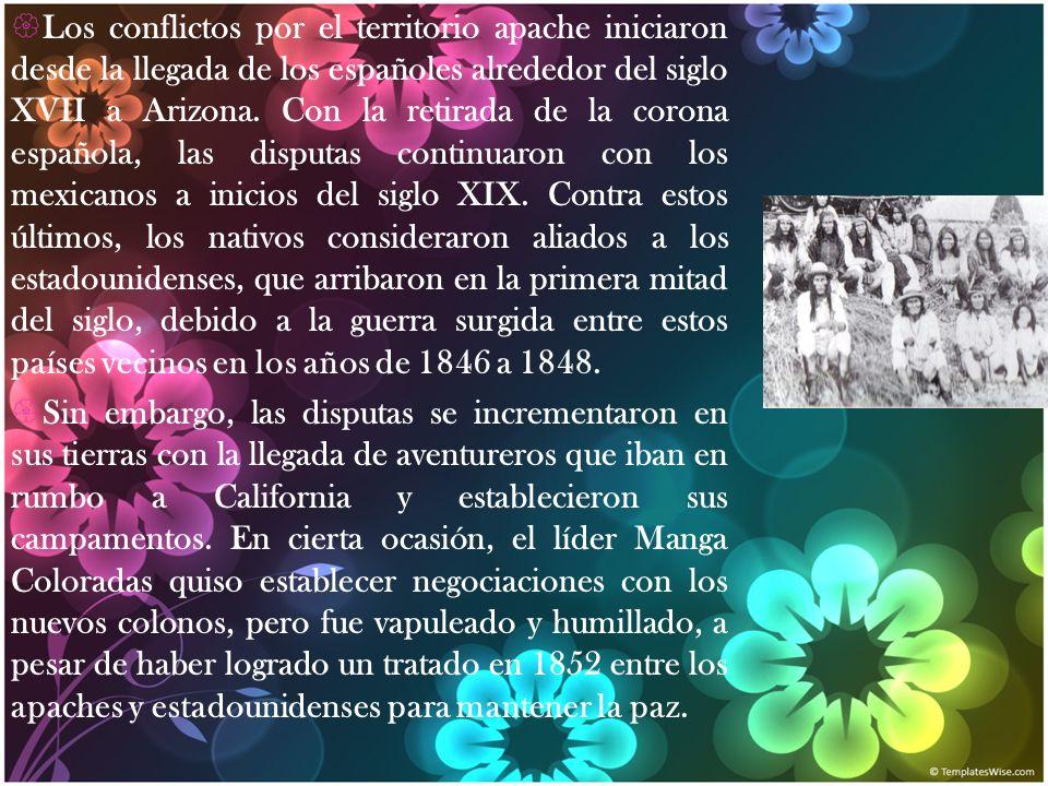 Los conflictos por el territorio apache iniciaron desde la llegada de los españoles alrededor del siglo XVII a Arizona. Con la retirada de la corona e