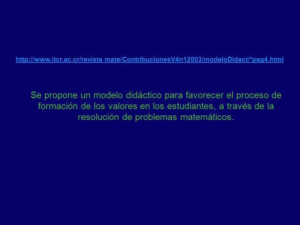http://www.itcr.ac.cr/revista mate/ContribucionesV4n12003/modeloDidact/*pag4.html Se propone un modelo didáctico para favorecer el proceso de formació