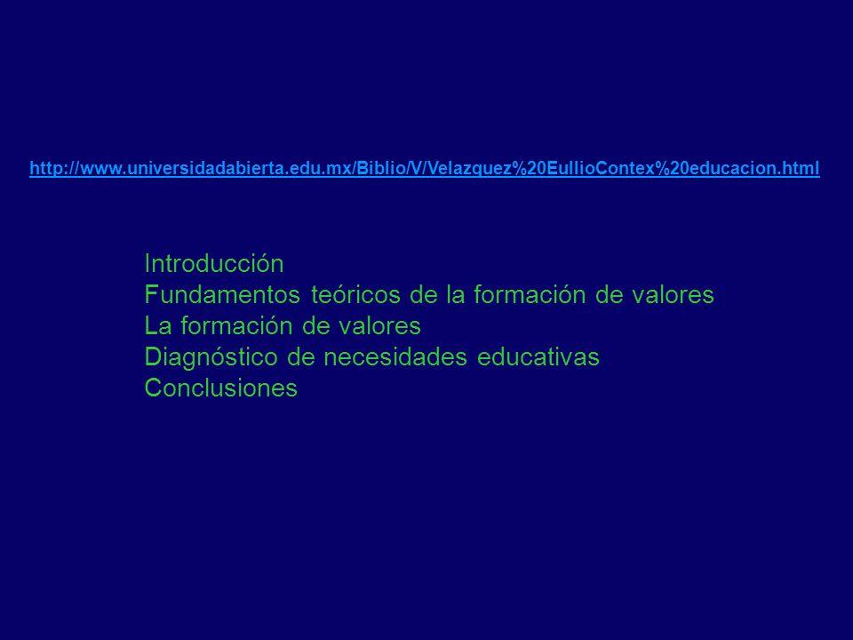 http://www.universidadabierta.edu.mx/Biblio/V/Velazquez%20EullioContex%20educacion.html Introducción Fundamentos teóricos de la formación de valores L