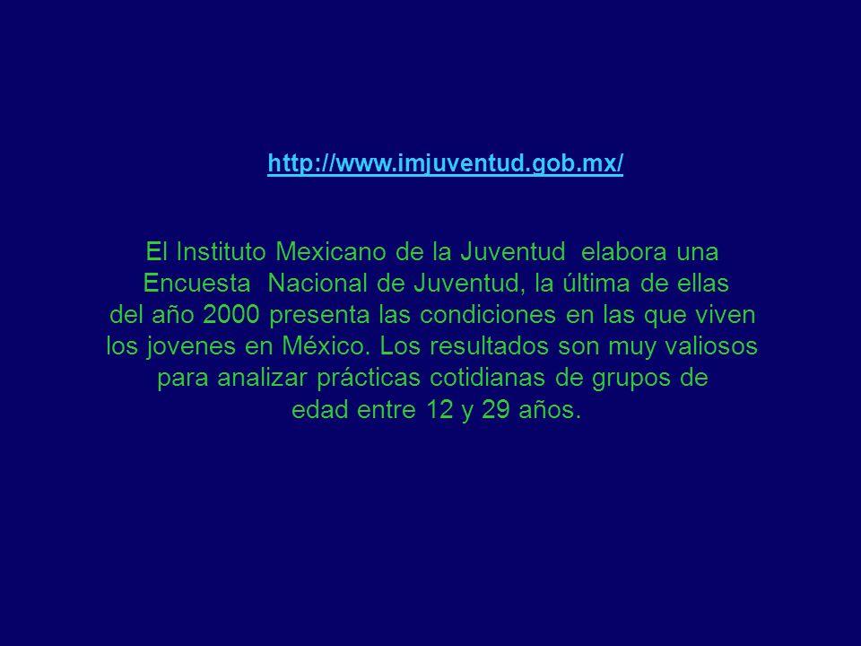 http://www.imjuventud.gob.mx/ El Instituto Mexicano de la Juventud elabora una Encuesta Nacional de Juventud, la última de ellas del año 2000 presenta