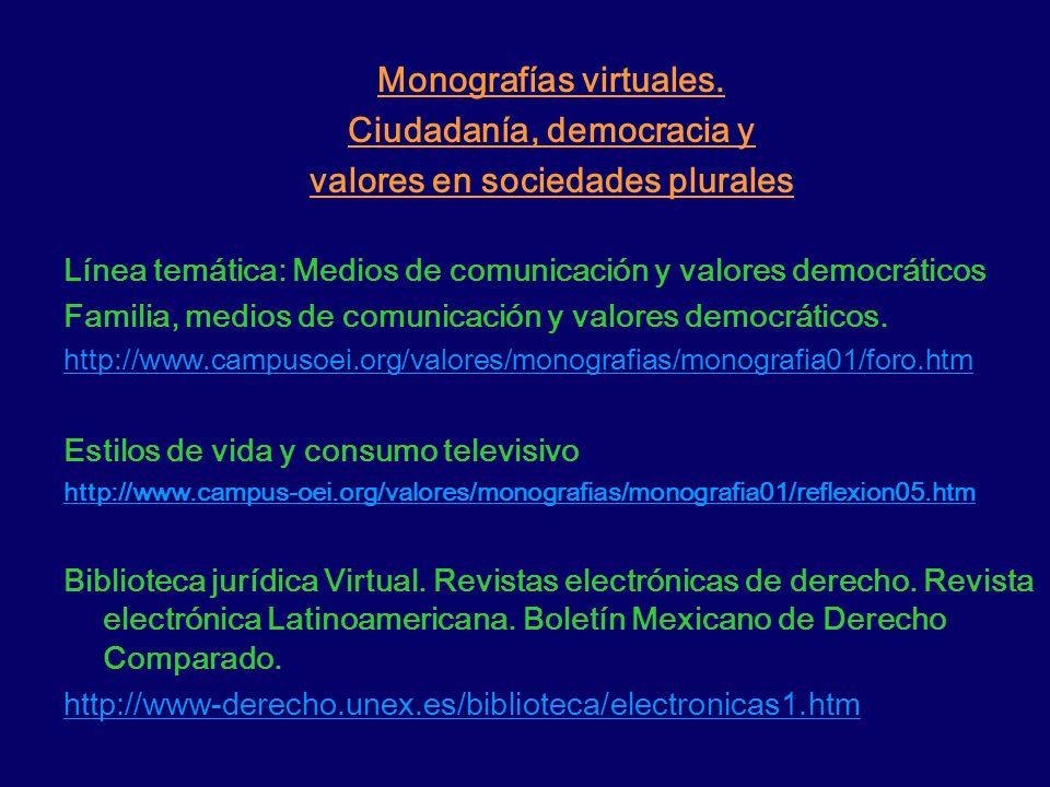 Monografías virtuales. Ciudadanía, democracia y valores en sociedades plurales Línea temática: Medios de comunicación y valores democráticos Familia,