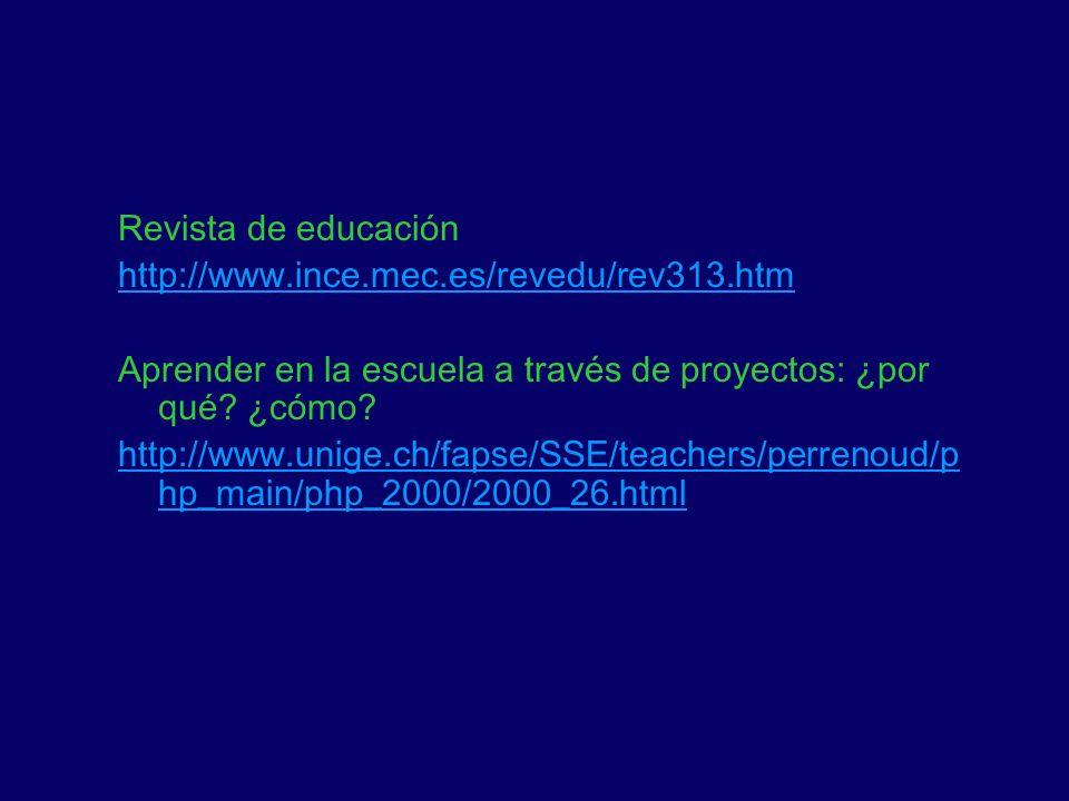 Revista de educación http://www.ince.mec.es/revedu/rev313.htm Aprender en la escuela a través de proyectos: ¿por qué? ¿cómo? http://www.unige.ch/fapse
