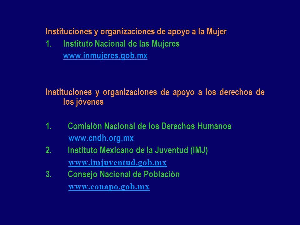Instituciones y organizaciones de apoyo a la Mujer 1.Instituto Nacional de las Mujeres www.inmujeres.gob.mx Instituciones y organizaciones de apoyo a