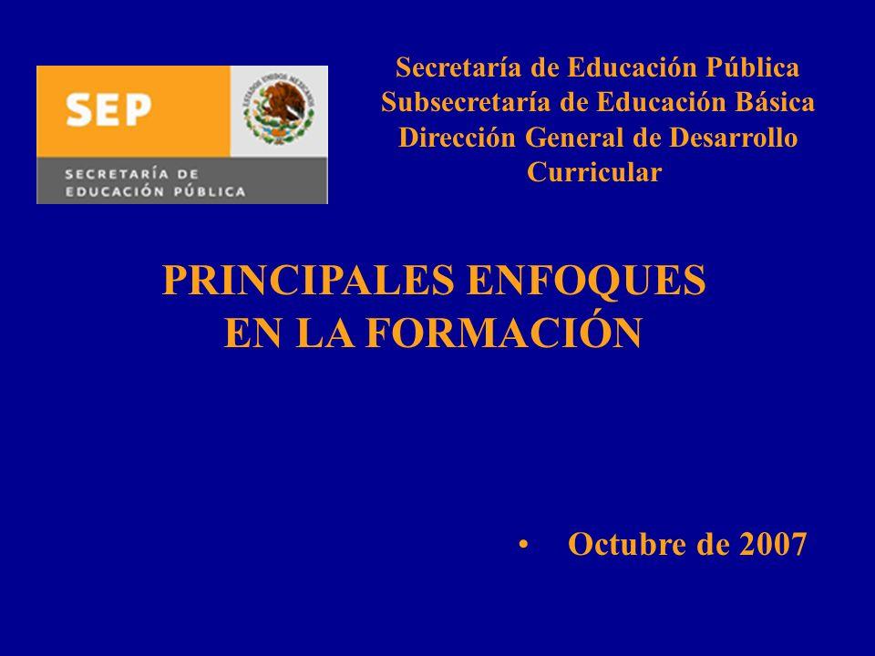 PRINCIPALES ENFOQUES EN LA FORMACIÓN Octubre de 2007 Secretaría de Educación Pública Subsecretaría de Educación Básica Dirección General de Desarrollo