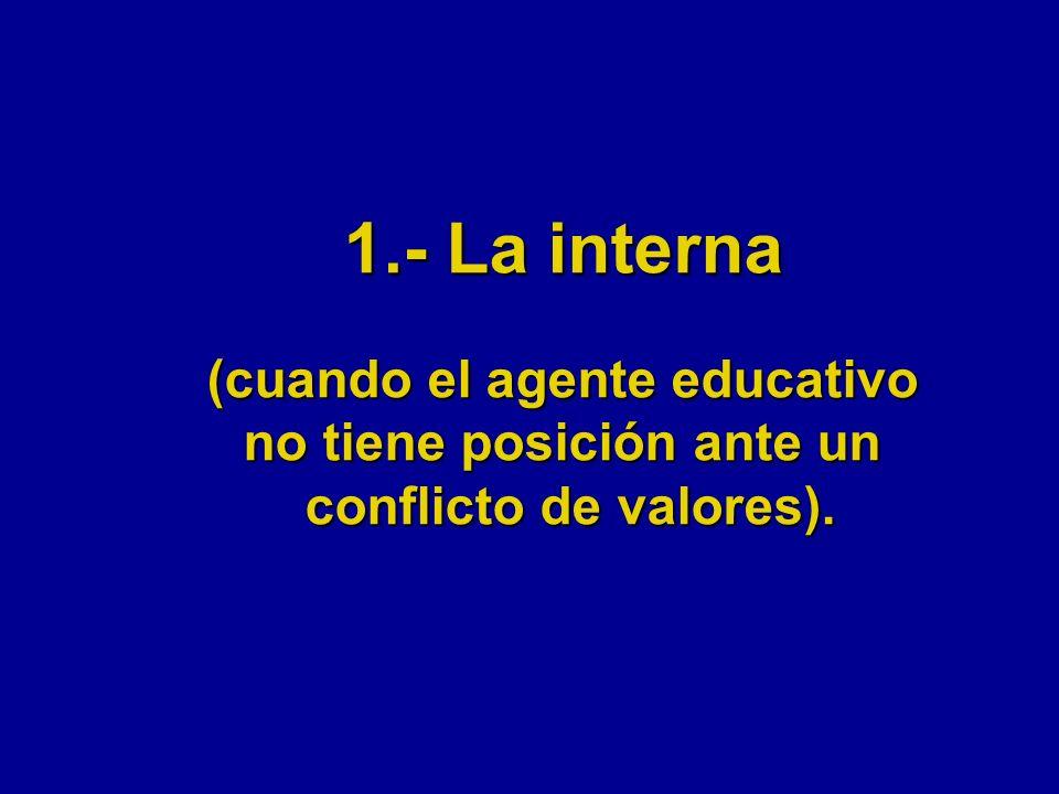 1.- La interna (cuando el agente educativo no tiene posición ante un conflicto de valores).