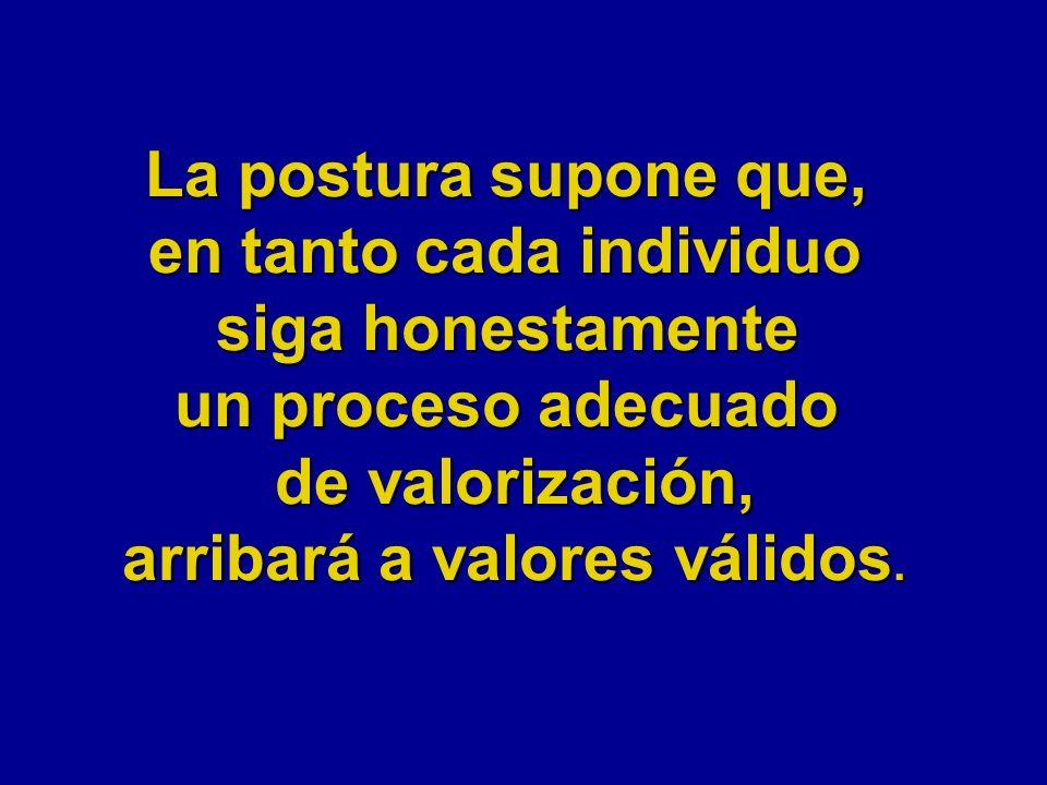 La postura supone que, en tanto cada individuo siga honestamente un proceso adecuado de valorización, arribará a valores válidos.