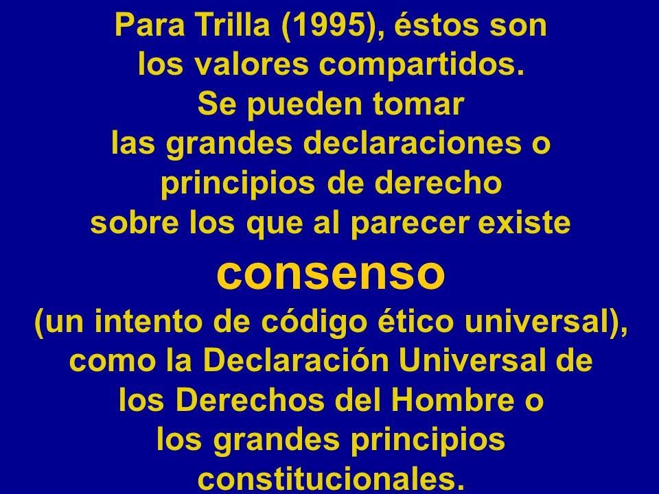 Para Trilla (1995), éstos son los valores compartidos. Se pueden tomar las grandes declaraciones o principios de derecho sobre los que al parecer exis