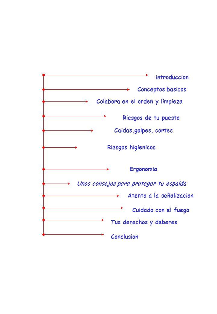 Indice introduccion Conceptos basicos Colabora en el orden y limpieza Riesgos de tu puesto Caidas,golpes, cortes Riesgos higienicos Atento a la señali