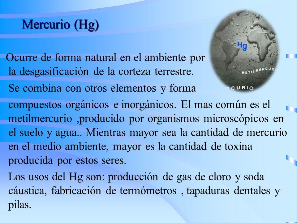 Mercurio (Hg) Ocurre de forma natural en el ambiente por la desgasificación de la corteza terrestre.