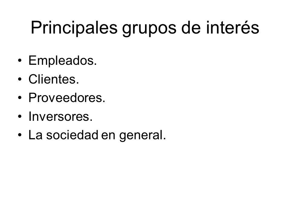 Principales grupos de interés Empleados. Clientes. Proveedores. Inversores. La sociedad en general.