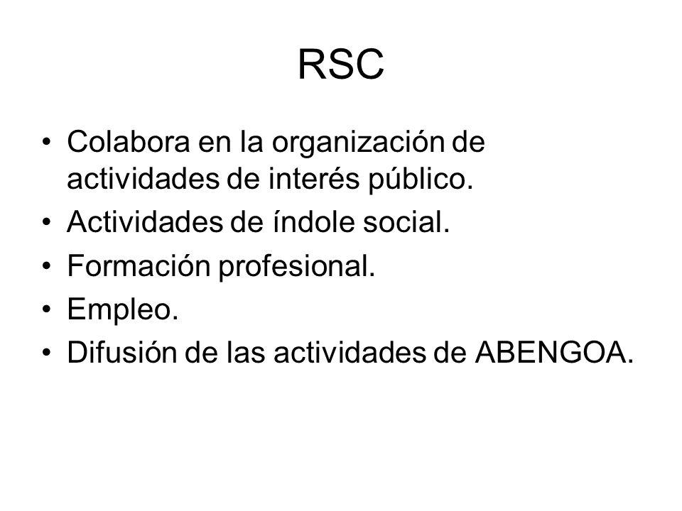 RSC Colabora en la organización de actividades de interés público. Actividades de índole social. Formación profesional. Empleo. Difusión de las activi