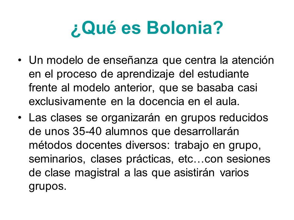 ¿Qué es Bolonia? Un modelo de enseñanza que centra la atención en el proceso de aprendizaje del estudiante frente al modelo anterior, que se basaba ca