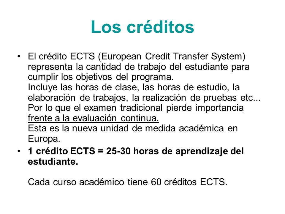 Los créditos El crédito ECTS (European Credit Transfer System) representa la cantidad de trabajo del estudiante para cumplir los objetivos del program