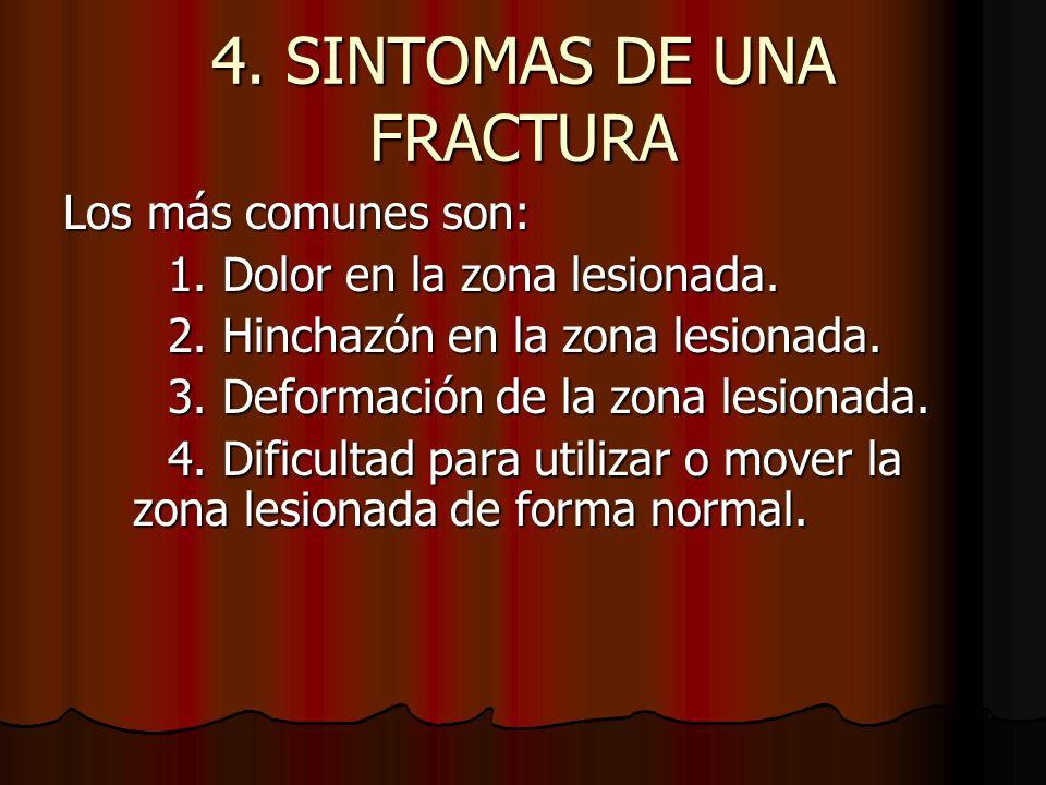 4. SINTOMAS DE UNA FRACTURA Los más comunes son: 1. Dolor en la zona lesionada. 2. Hinchazón en la zona lesionada. 3. Deformación de la zona lesionada