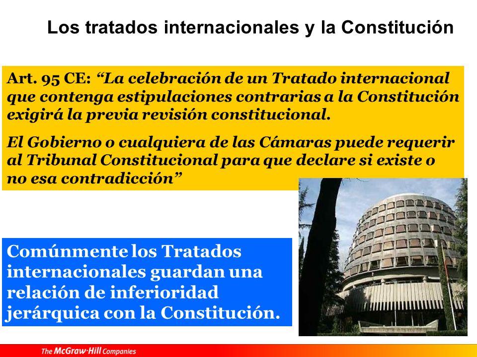 Tratados y Constitución Art. 96 CE: Los Tratados internacionales válidamente celebrados, una vez publicados oficialmente en España, formarán parte del