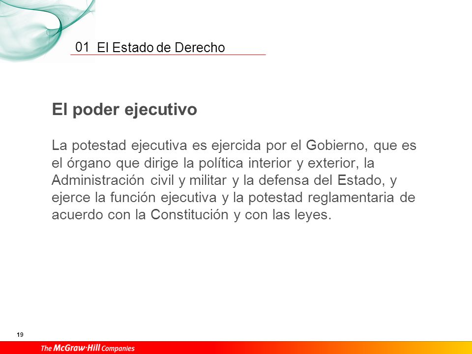 El Estado de Derecho 18 01 El poder legislativo «1. Las Cortes Generales representan al pueblo español y están formadas por el Congreso de los Diputad