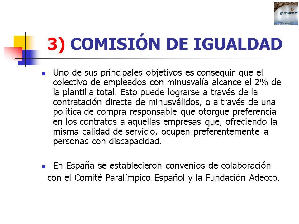 3) COMISIÓN DE IGUALDAD Uno de sus principales objetivos es conseguir que el colectivo de empleados con minusvalía alcance el 2% de la plantilla total