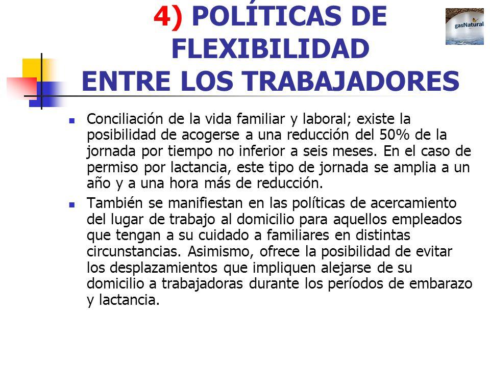 4) POLÍTICAS DE FLEXIBILIDAD ENTRE LOS TRABAJADORES Conciliación de la vida familiar y laboral; existe la posibilidad de acogerse a una reducción del