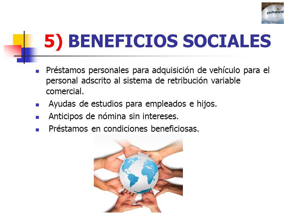 5) BENEFICIOS SOCIALES Préstamos personales para adquisición de vehículo para el personal adscrito al sistema de retribución variable comercial. Ayuda