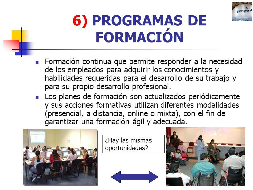 6) PROGRAMAS DE FORMACIÓN Formación continua que permite responder a la necesidad de los empleados para adquirir los conocimientos y habilidades reque