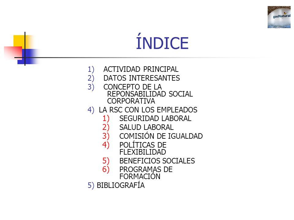 ÍNDICE 1) ACTIVIDAD PRINCIPAL 2) DATOS INTERESANTES 3) CONCEPTO DE LA REPONSABILIDAD SOCIAL CORPORATIVA 4) LA RSC CON LOS EMPLEADOS 1) SEGURIDAD LABOR