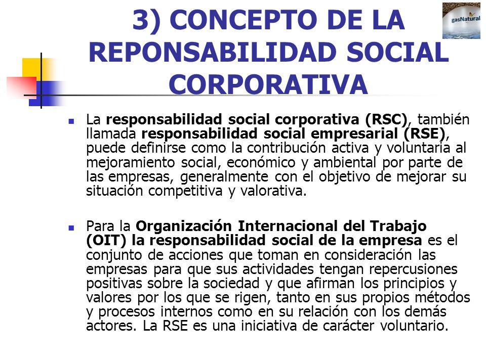 3) CONCEPTO DE LA REPONSABILIDAD SOCIAL CORPORATIVA La responsabilidad social corporativa (RSC), también llamada responsabilidad social empresarial (R