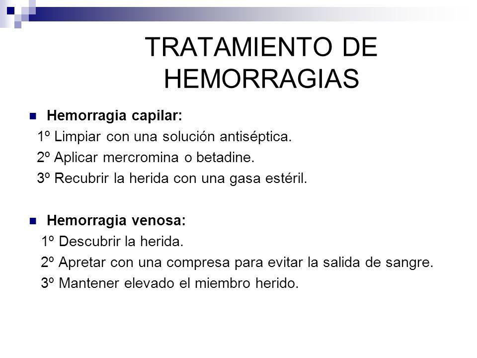 TRATAMIENTO DE HEMORRAGIAS Hemorragia capilar: 1º Limpiar con una solución antiséptica.
