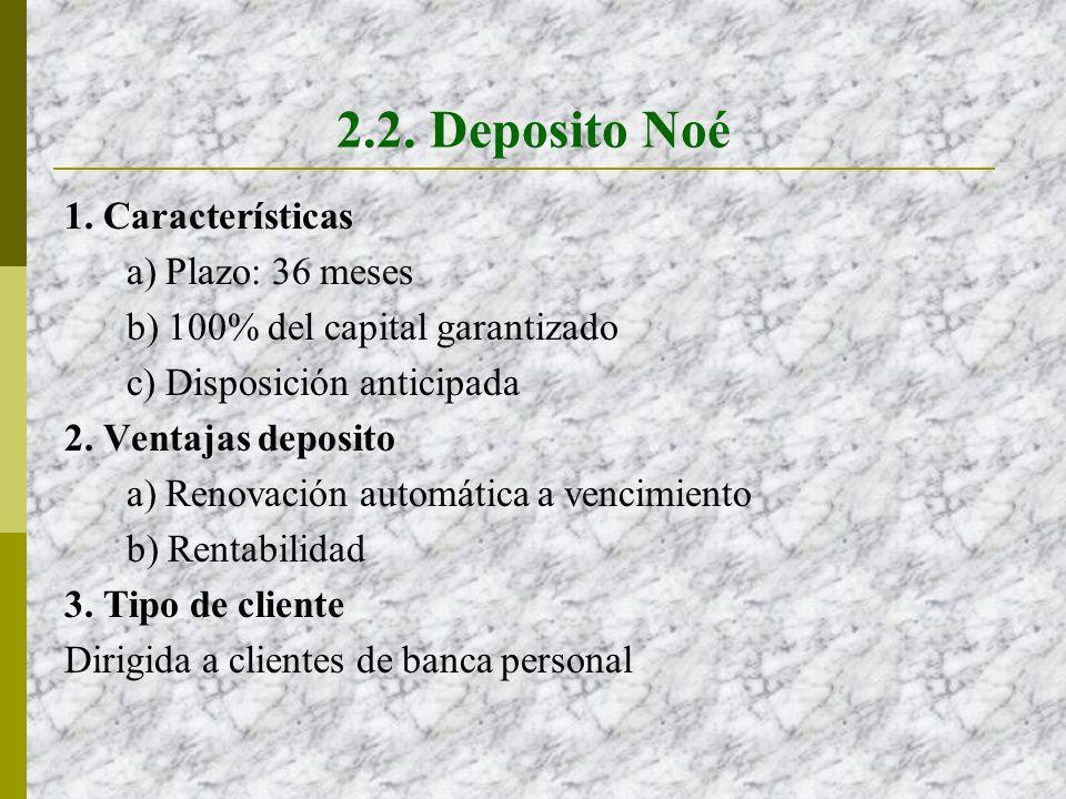 2.2. Deposito Noé 1. Características a) Plazo: 36 meses b) 100% del capital garantizado c) Disposición anticipada 2. Ventajas deposito a) Renovación a