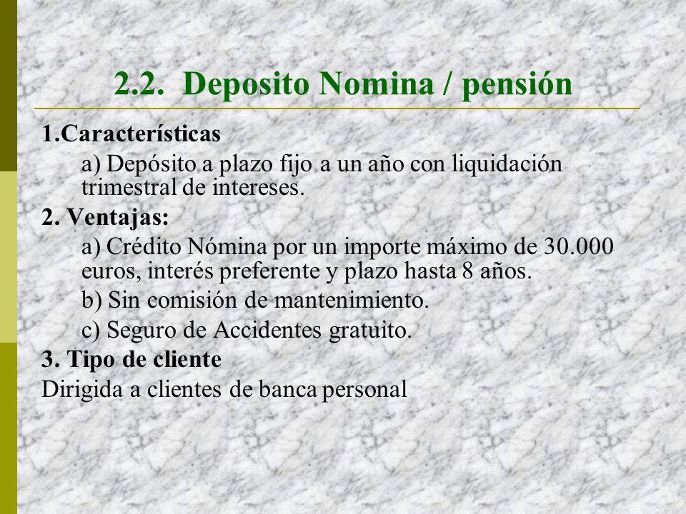 2.2. Deposito Nomina / pensión 1.Características a) Depósito a plazo fijo a un año con liquidación trimestral de intereses. 2. Ventajas: a) Crédito Nó