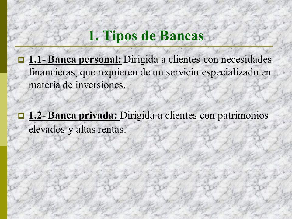 1. Tipos de Bancas 1.1- Banca personal: Dirigida a clientes con necesidades financieras, que requieren de un servicio especializado en materia de inve