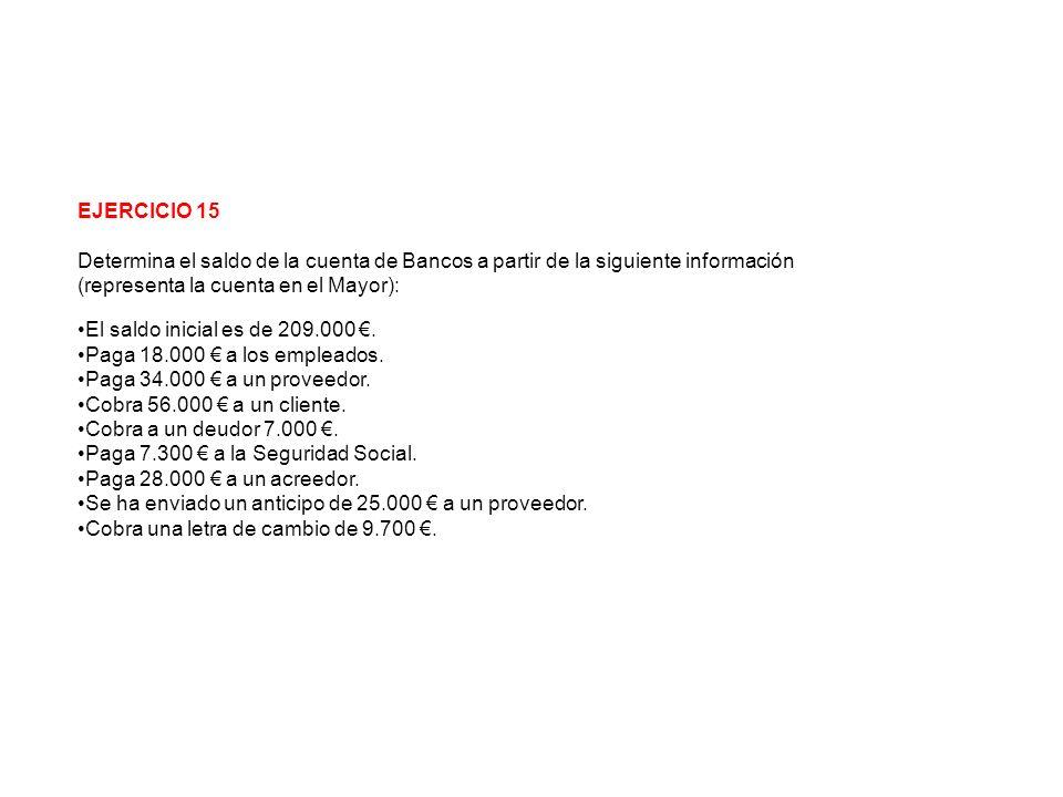 EJERCICIO 15 Determina el saldo de la cuenta de Bancos a partir de la siguiente información (representa la cuenta en el Mayor): El saldo inicial es de 209.000.