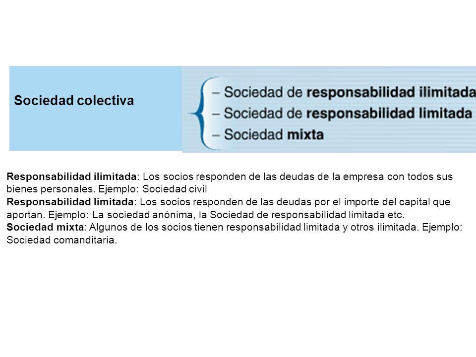 Responsabilidad ilimitada: Los socios responden de las deudas de la empresa con todos sus bienes personales. Ejemplo: Sociedad civil Responsabilidad l